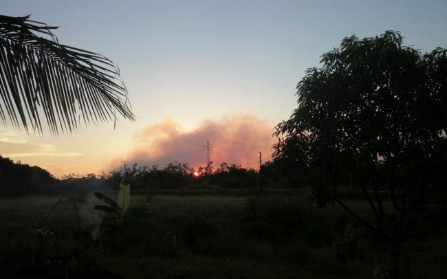 coucher de soleil orangé à Kourou Guyane